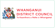 Whanganui District Council logo colored crest with red text
